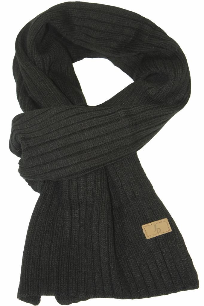gebreide sjaal zwart met logo - megatip.be