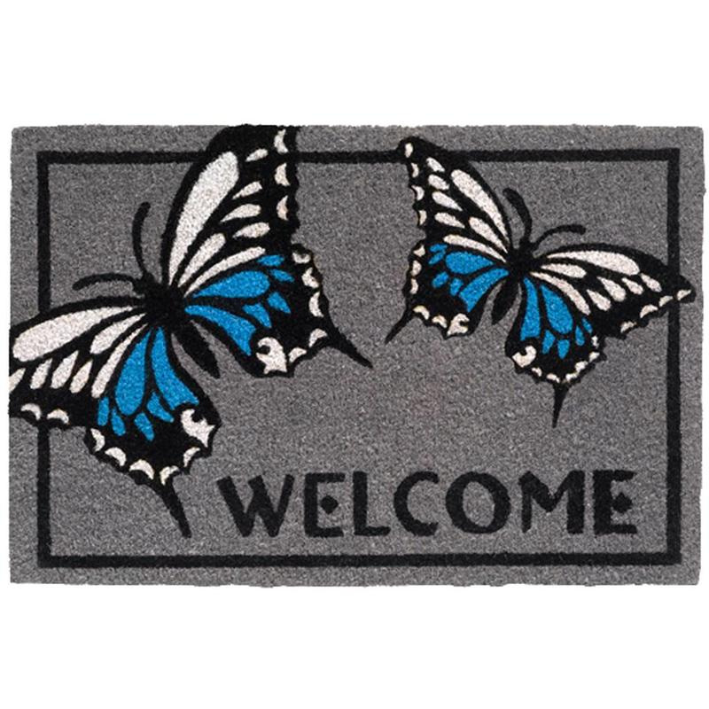 Kokosmat Welcome butterfly grey 40x60 cm.