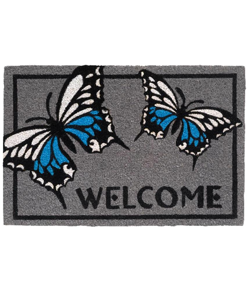 Kokosmat Welcome butterfly grey 40x60 cm.