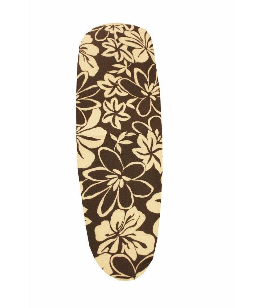Mouwplankovertrek 59 cm x 21 cm Bruin/witte bloemmotief