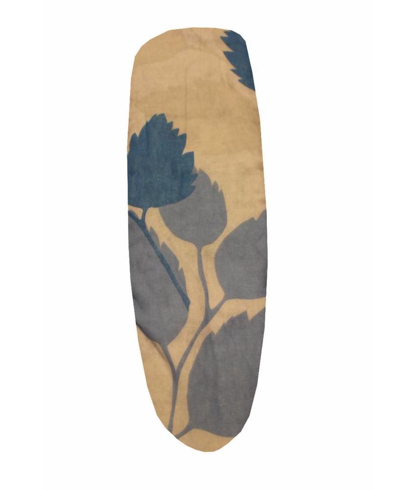 Mouwplankovertrek / elastiek 65 x 22 cm Ecru/blauw bloem