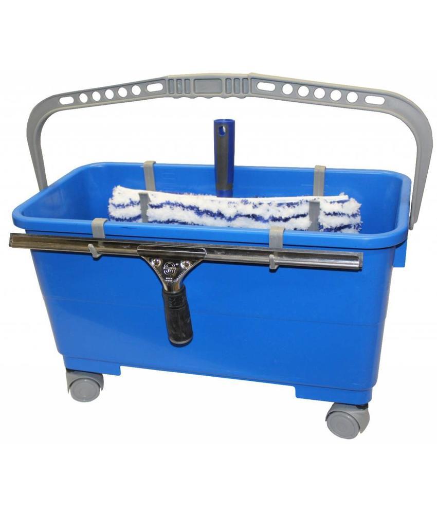 Raamwas emmer 22 liter met wieltjes en ophangsysteem