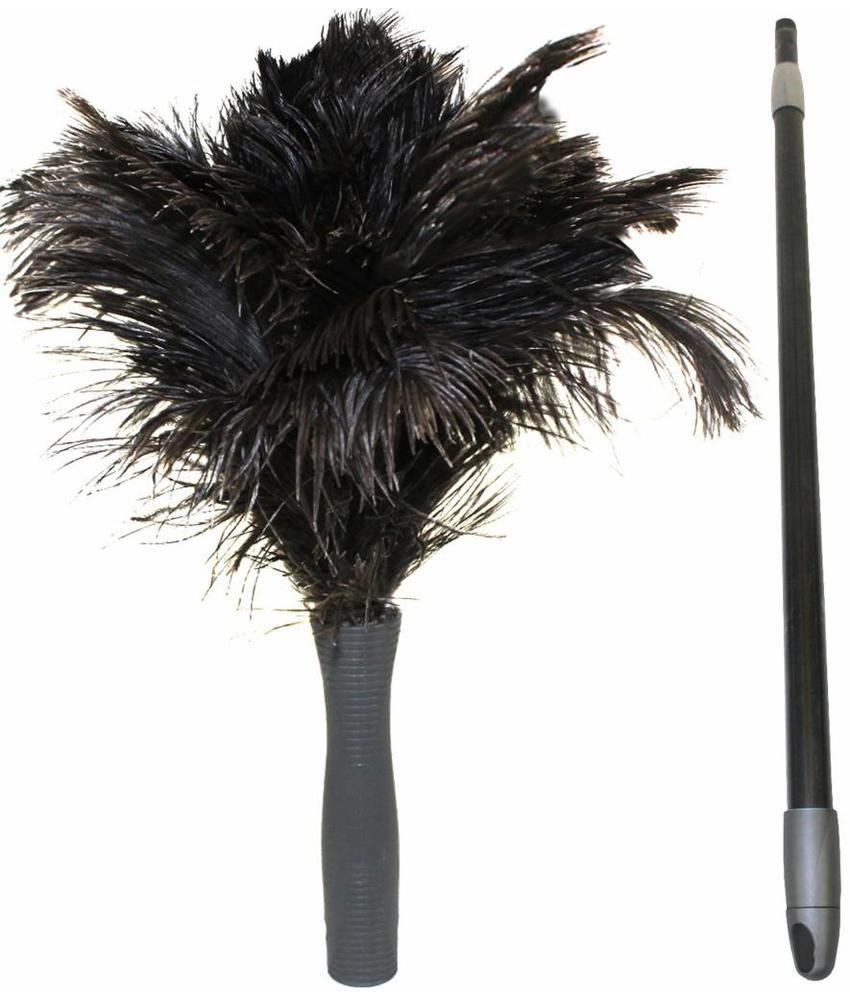 Struisvogel Plumeau 2 kransen met telescoopsteel
