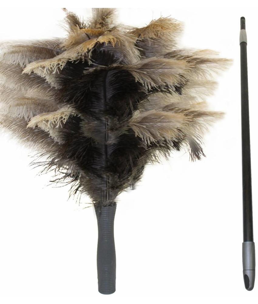 Struisvogel Plumeau 5 kransen met telescoopsteel