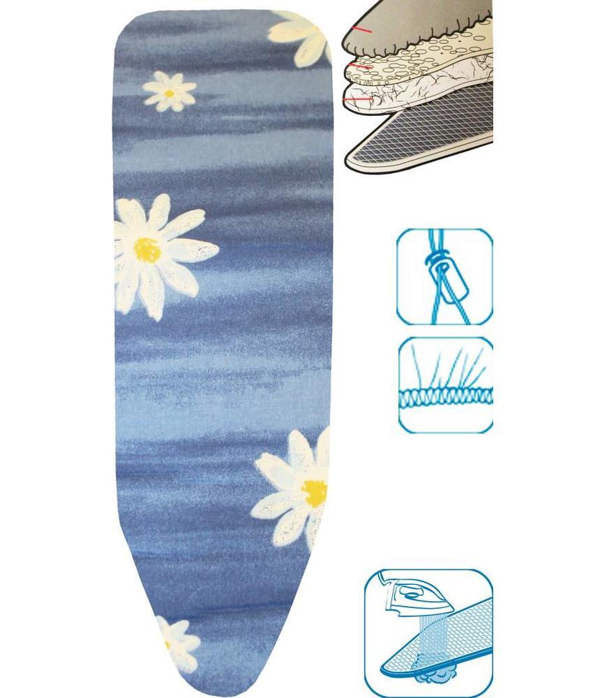 Strijkplankovertrek 3 lagen maat A Blauw / witte bloem