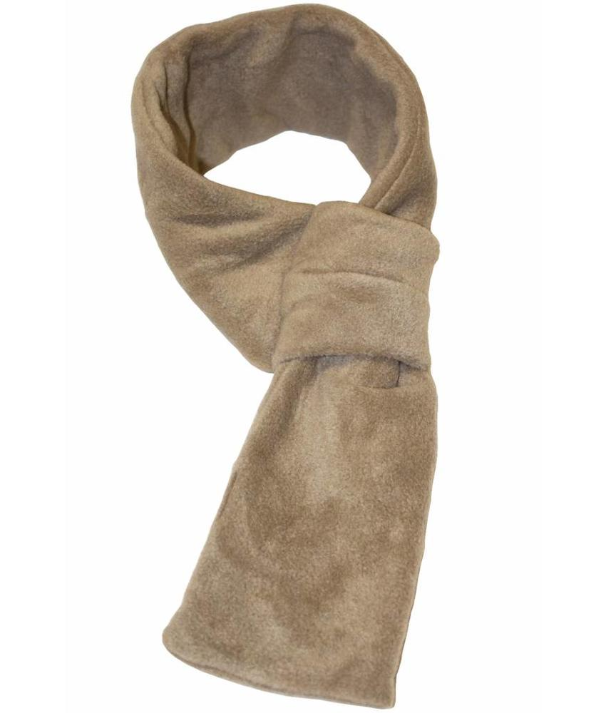 Doorsteek Sjaal fleece Beige