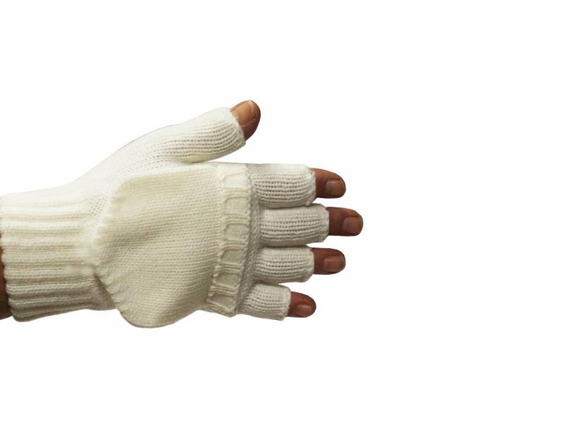 kinder handschoenen zonder vingers met flap Ecru