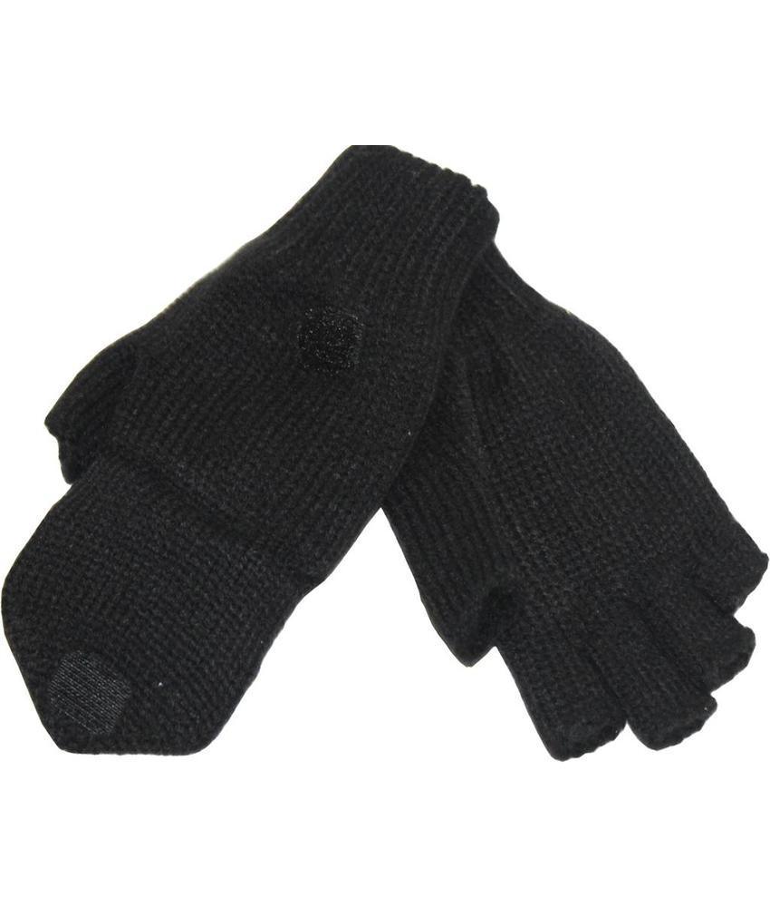 kinder handschoenen zonder vingers met flap Zwart