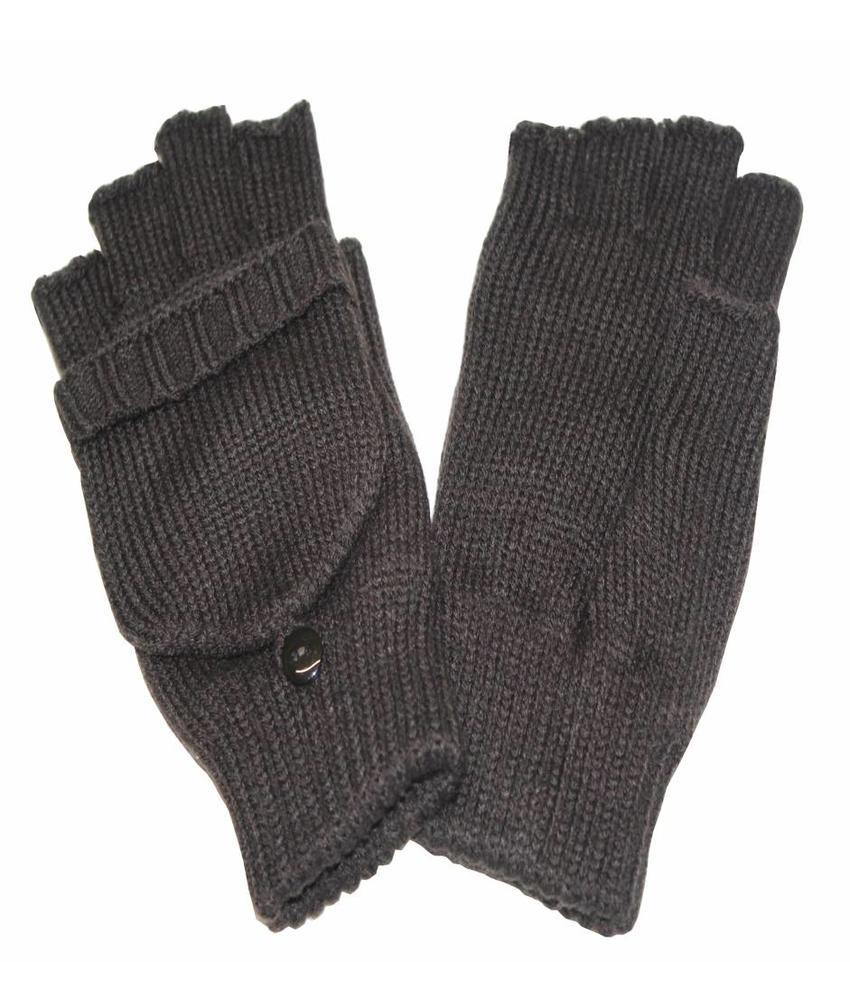 Dames handschoenen zonder vingers met flap Bruin