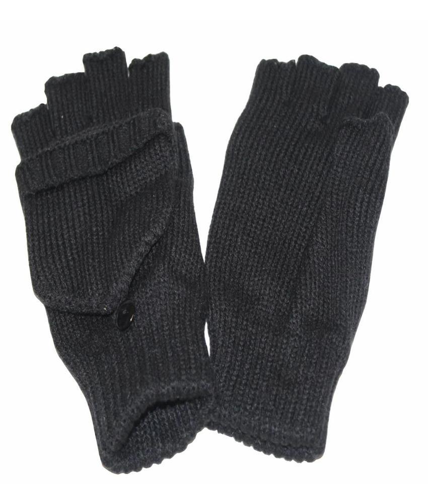 Dames handschoenen zonder vingers met flap Zwart
