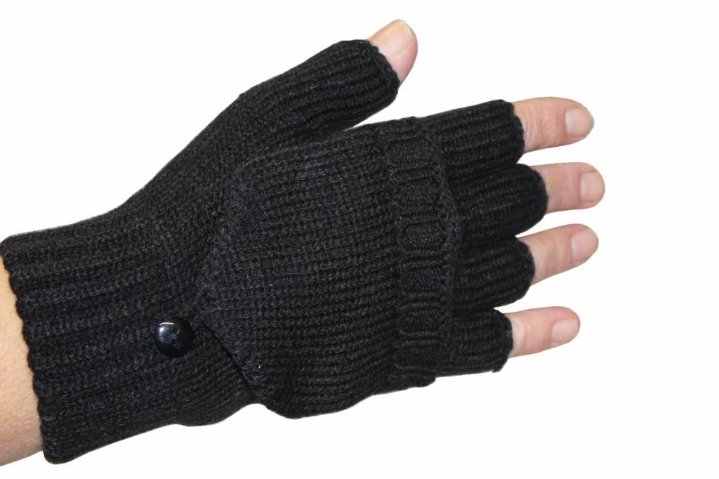 dames handschoenen zonder vingers met flap zwart - megatip.be