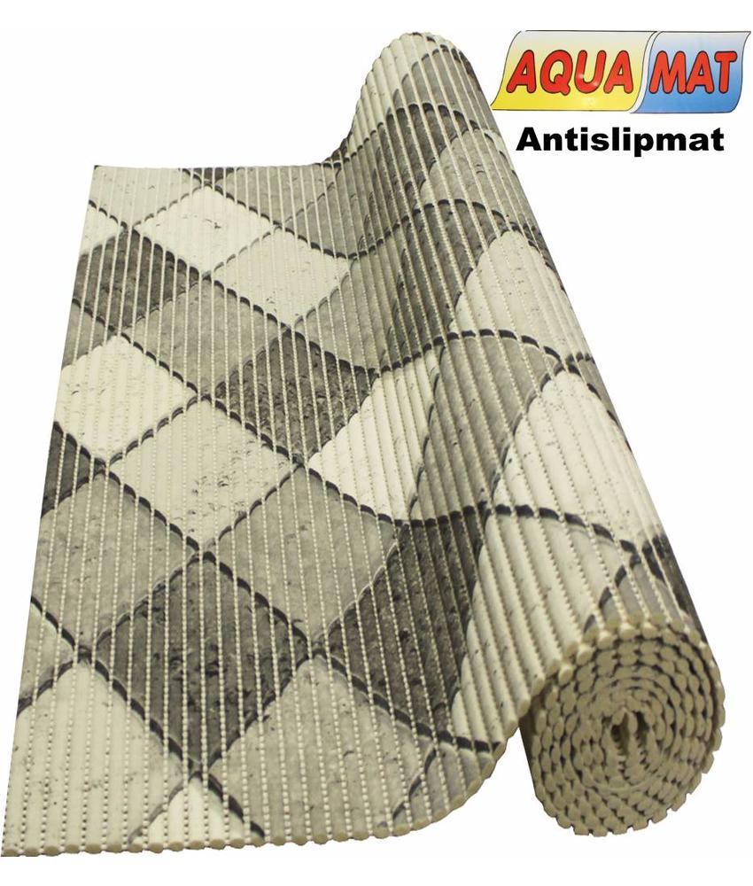 Aquamat antislipmat zwart/wit tegel design 0,65 x 1 meter