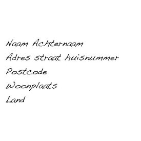 Transparante adresetiketten lettertype geschreven
