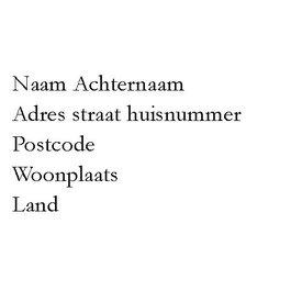 Transparante adresetiketten lettertype chique 1