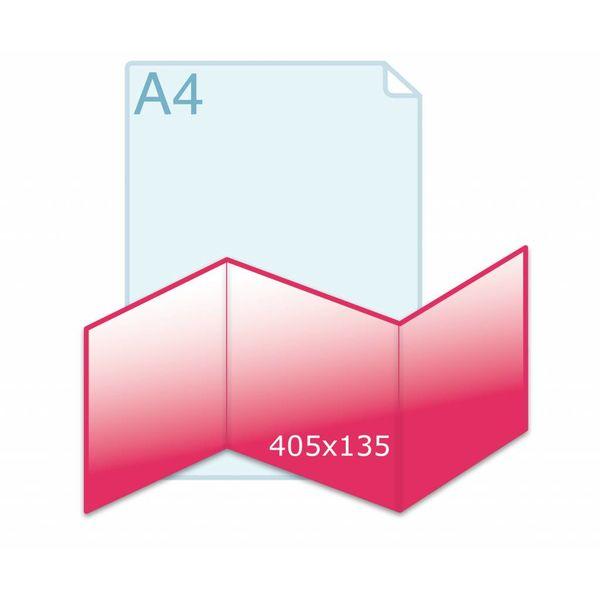 Drieluik zig/zag carré 135 kaart (405 x 135 mm)