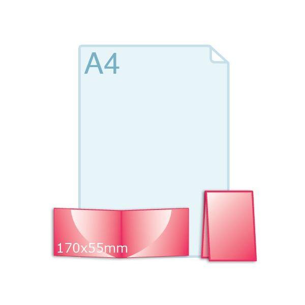 300 grs. Visitekaartjes klapkaartje liggend 170 x 55 mm