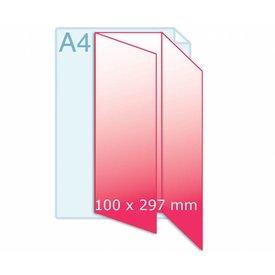 Gevouwen folder A4 naar 100 x 210 mm wikkel of zig/zag