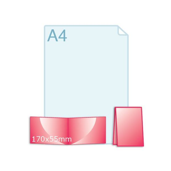 350 grs. Visitekaartjes klapkaartje liggend 170 x 55 mm
