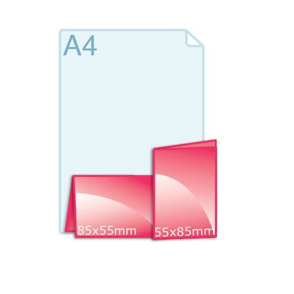 350 grs. Visitekaartjes klapkaartje staand 110 x 85 mm