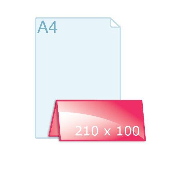Gevouwen kaart 200 x 210 naar 210 x 100 mm vouw boven
