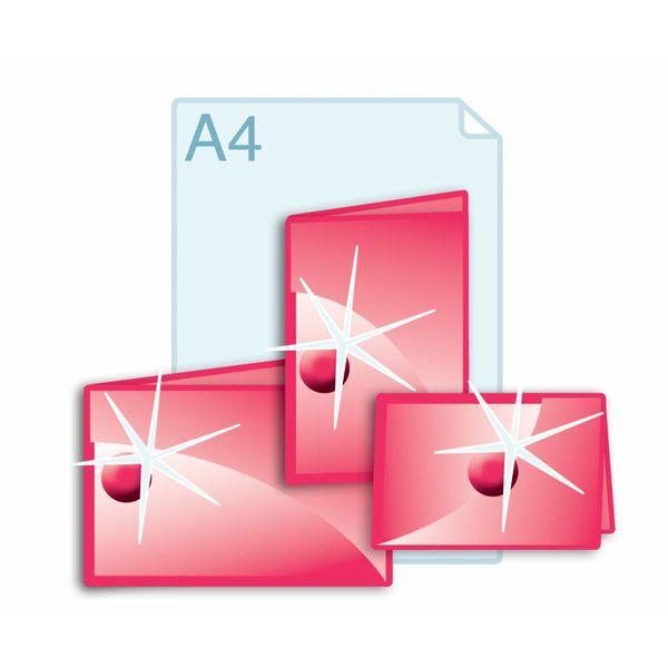 3D Touch Spotlak aanbrengen op gevouwen kaarten A4 (297 x 420 mm) of kleiner.