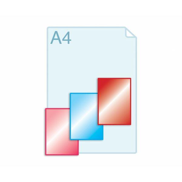 Laminaat aanbrengen op enkele kaarten A6 (105 x 148 mm) of kleiner.