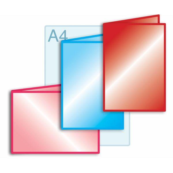 Laminaat aanbrengen op gevouwen drukwerk A4 (420 x 297 mm) of kleiner.