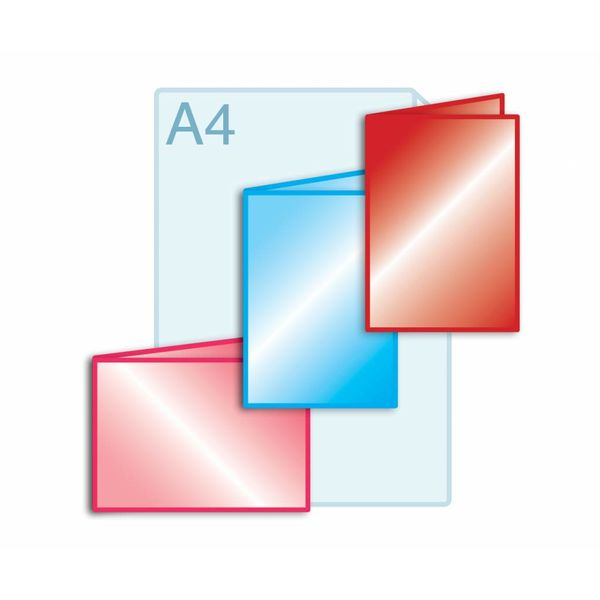 Laminaat aanbrengen op gevouwen drukwerk A5 (148 x 210 mm) of kleiner.