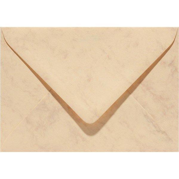 Blanco marmer envelop 140 x 140 mm Okergeel