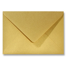 Blanco metallic envelop 140 x 140 mm Goud