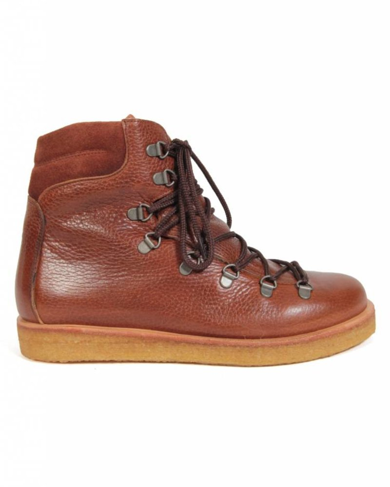 Angulus Wool Lining Laced Boot Cognac