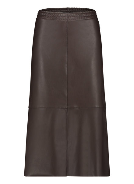 PENN&INK N.Y  Leatherlook Midi Skirt Dark Brown