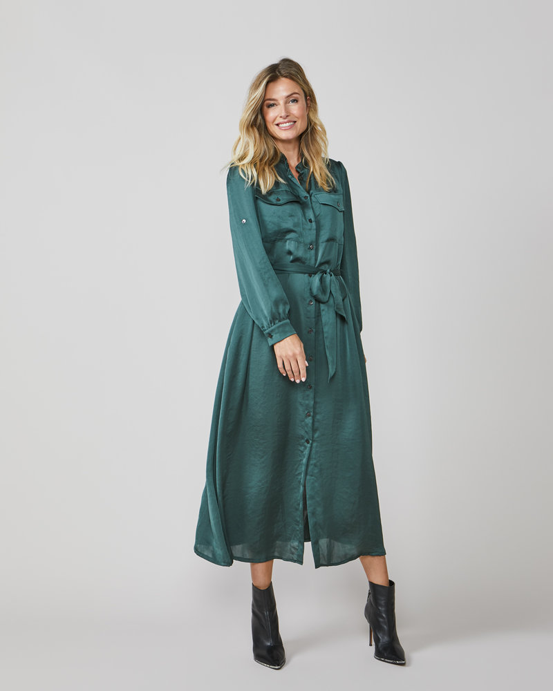 Summum Woman Satin Look Midi Dress Deep Green