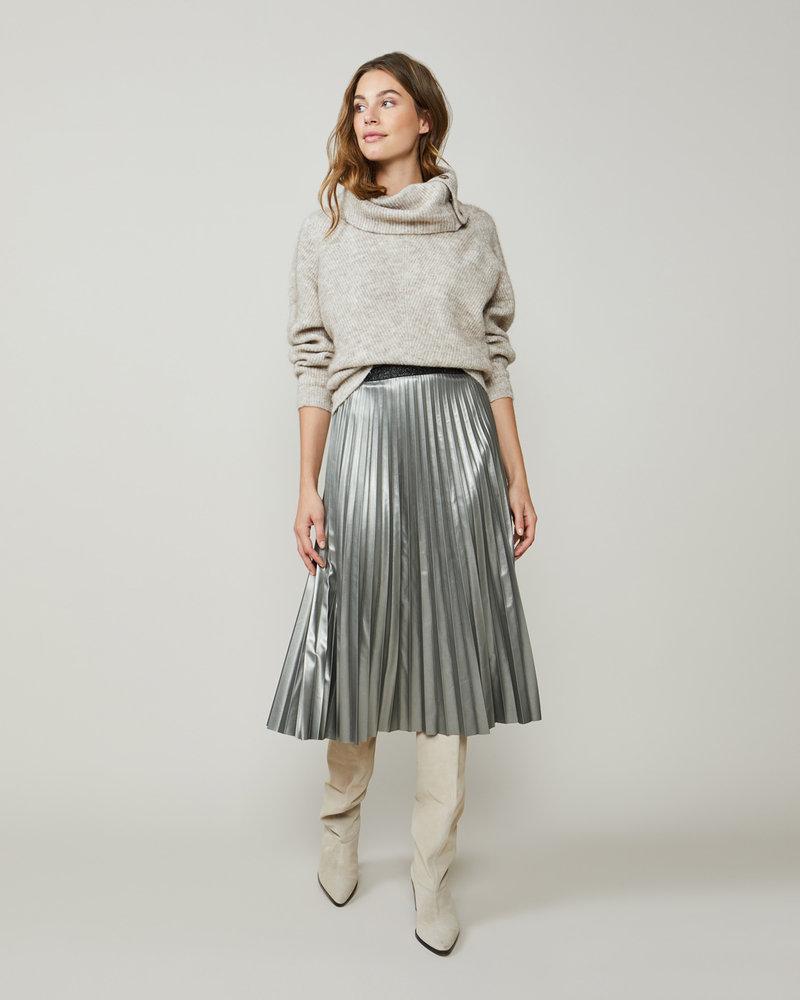 Summum Woman Plisse Skirt Fake Leather Silver