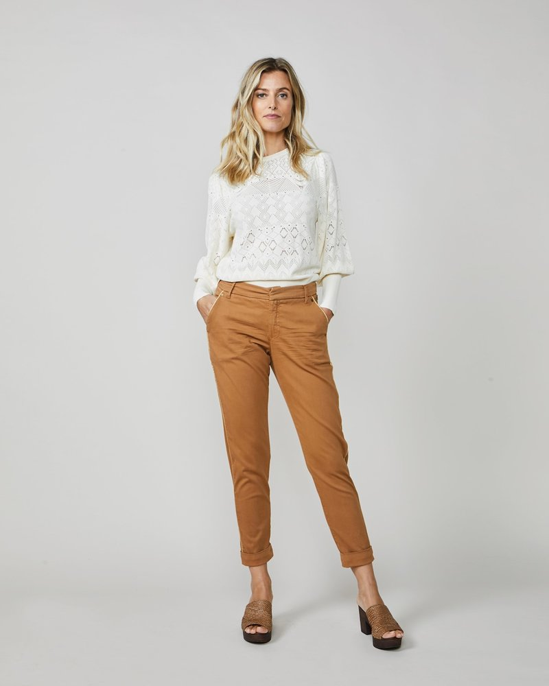 Summum Woman Skinny Pants Basic Twill Walnut