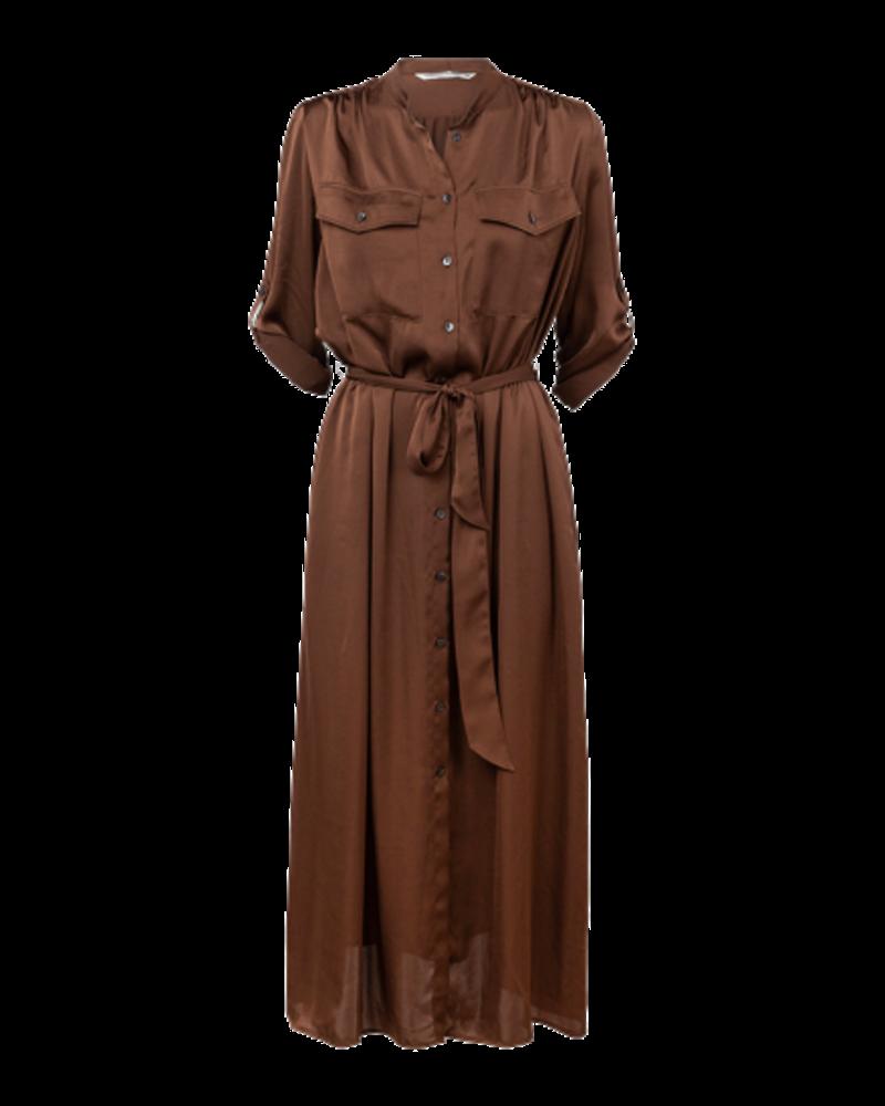Summum Woman Satin look Midi Dress Chocolate