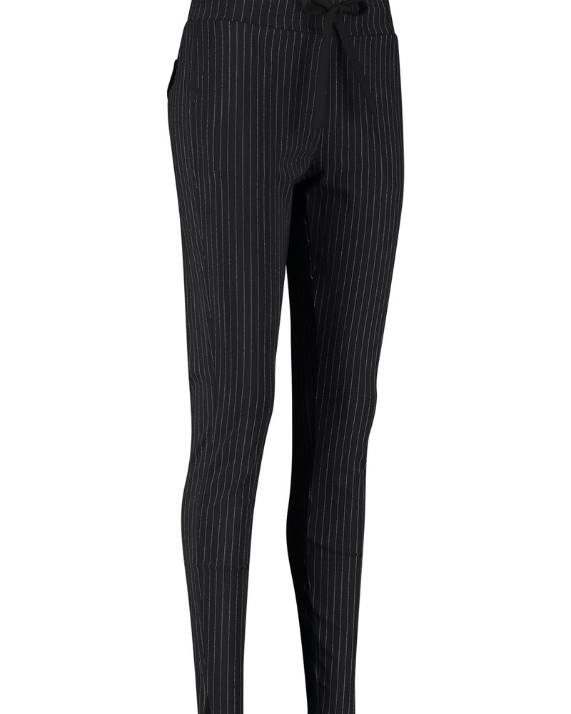 Studio Anneloes Downstairs Pinstripe Trousers Black/Offwhite