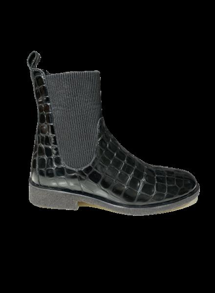 Angulus Croco Lacquer Chelsea Boot Black