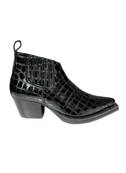 Angulus Ankle Boot Croco Lacquer Black
