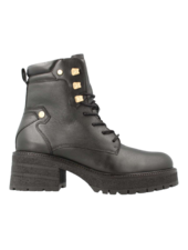 Red Rag Lace Up Boots Black