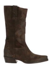 SHABBIES Western Boots Waxed Suede Brown