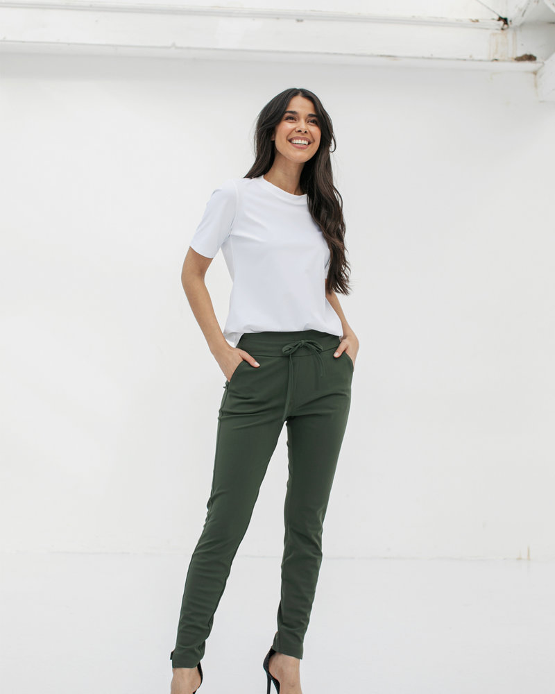 Studio Anneloes Downstairs Bonded Trousers Green