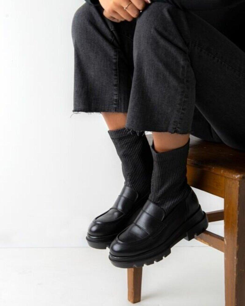 SHABBIES Loafer Leather Sock Black