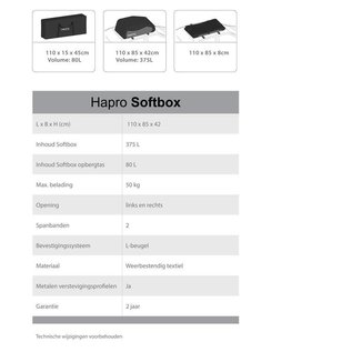 Hapro Dakkoffer Softbox geen verzendkosten