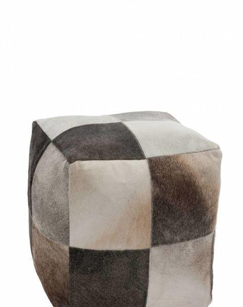 Duverger Poef - vierkant - patchwork - echt koevel - natuurlijke kleurschakering - 44x44x46cm