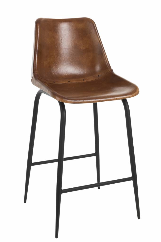 Duverger Barstoelen - set van 2 - met rugleuning - leder - cognac - metalen onderstel