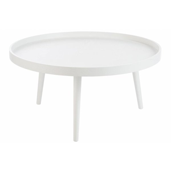 Duverger Tight white - Salontafel - rond - met boord - wit - hout - dia 90x45cm