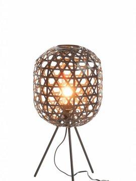 Duverger Bamboo light - Tafellamp - cilinder - bamboe - zwart - driepikkel - metaal