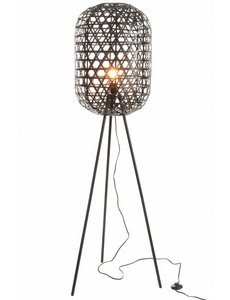 Duverger Bamboo light - Vloerlamp - cilinder - bamboe - zwart - driepikkel - metaal