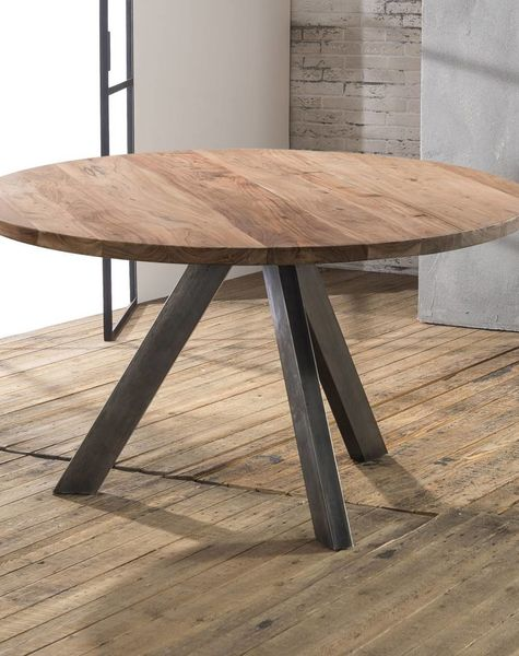 Duverger Massive - Eettafel - Ø135cm - Massief acacia  -naturel - zwarte driepoot - RVS